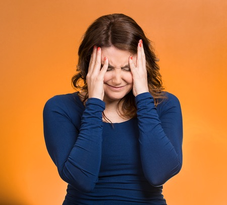 undetermined: Closeup portrait middle aged stressed woman having so many thoughts, worried about future, thinking, isolated orange background. Human facial expressions, feelings, emotions, attitude, life perception