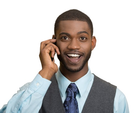 Headshot, portrait happy business man, young guy talking on mobile phone smiling isolated white background. Positive human facial expressions, emotions, feelings, life perception, attitude, thinking photo
