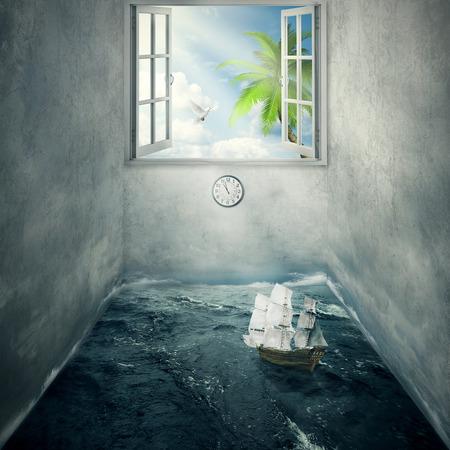 daily routine: Idea Imagen abstracta dentro de la mente de alguien rodeado de limitaciones paredes de cemento de la rutina diaria, sin posibilidad de escape para el futuro brillante s�lo sue�a con el para�so tropical. Barco deriva en el oc�ano sin rumbo