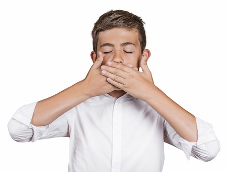 afraid man: Portrait young man, student, boy, covering his mouth with hands wont talk. Speak no evil concept, isolated white background. Human emotions, face expressions, feelings, signs, surrounding perception Stock Photo