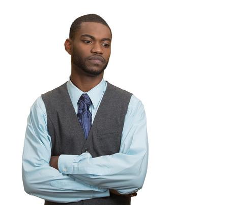 eye service: Portrait, annoyed, grumpy executive business man, customer service representative avoiding eye contact, tired of fruitless conversation looking away, isolated white background. Body language attitude Stock Photo