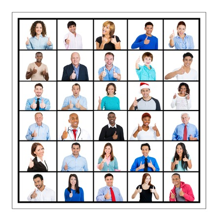 ethnic group: Multicultural different age generation ethnic group collage group people, business men women, elderly young showing thumbs up sign isolated white background. Stock Photo