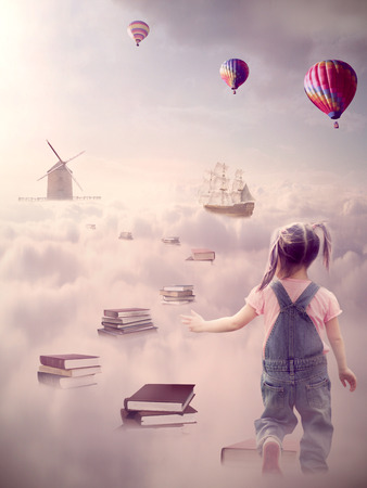 In search for knowledge concept. Fantasy world imaginary view. Little girl walking down the book pass above clouds with windmill old ship in horizon. Original screensaver. Life success, educated human