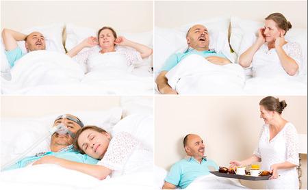 apnoe: Schlaf Apnoe, Schnarchen, Stress. Ruhige N�chte, gl�cklich Morgen mit CPAP-Ger�t, entwickeln, von Ehepaar mittleren Alters. Gesundheitsmanagement der Patienten Schlafapnoe. Die menschliche Gesundheit der Atemwege Atemwegssystem