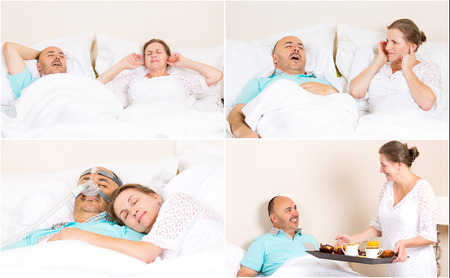devise: Sleeping apnea, snoring, stress. Peaceful nights, happy morning with CPAP machine, devise, of middle aged couple. Healthcare management patient of sleep apnea. Human respiratory airway system health Stock Photo