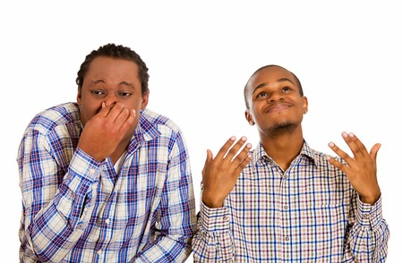 stinks: A matter of taste. Portrait two men, one pinching nose, disgusted something stinks, second enjoying aroma isolated white background. Face expressions, perception contrast. Cultural differences concept