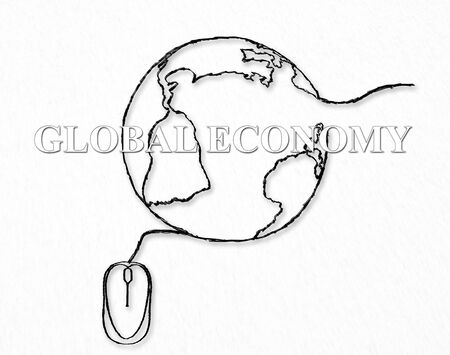 global work company: Global network, economy concept. Consumer, customer and producer, business interconnection. On line e-commerce, digital technology. Worldwide social media, communication, exchange of information idea