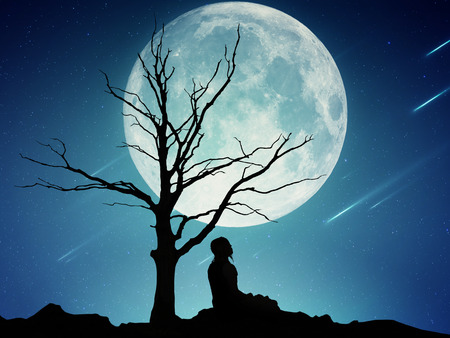 night scenery: Silhouette of a man sitting under the tree meditating isolated on beautiful background of moon, earth, night skyline, falling stars. Body vitality, human spirit wellbeing concept. Alternative medicine