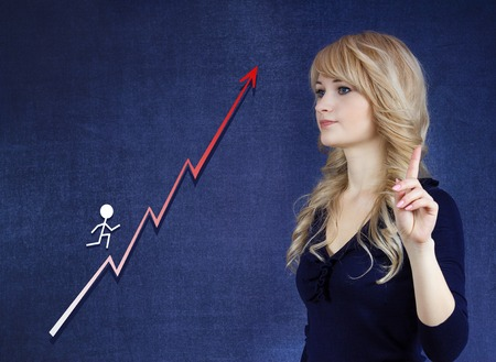 Career growth, step by step concept. Young Businesswoman looking at ladder, gesturing at tenting with finger, isolated on blue background. Corporate, life, academic success, goal photo