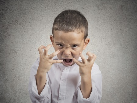 Closeup portrait angry child, Boy Screaming hysterical demanding, having nervous breakdown isolated grey wall background. Negative human Emotion Facial Expressions, body language, attitude, perception Stockfoto