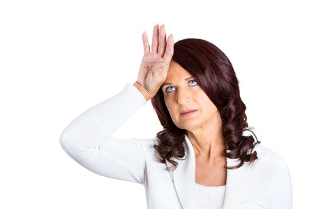 brat: Closeup portrait annoyed cute princess middle aged woman placing back hand on forehead as if to say oh the tragedy of it all, woe is me, isolated on white background. Negative emotion face expression