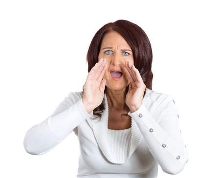 angry teacher: closeup headshot portrait angry woman screaming isolated on white background. Negative human face expressions, emotions, feelings, attitude, body language, life perception