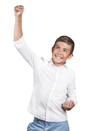 enrolled: Portrait happy successful student fists pumped celebrating success isolated white background.