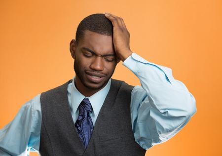 financial crisis: Closeup portrait sad depressed stressed
