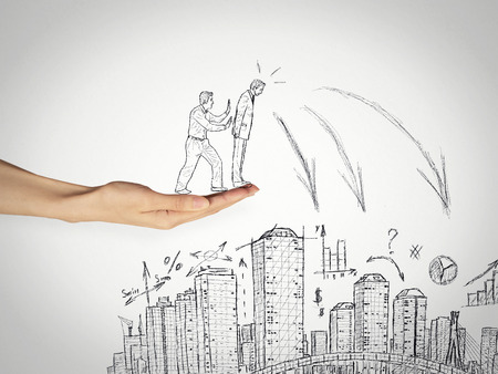 Drawing businessman in a risky situation about to be pushed by competition from cliff high altitude on city skyline. Betrayal, deception treason backstabbing fake friendship in corporate world concept photo