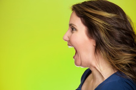 Side view profile portrait beautiful angry woman screaming wide open mouth isolated on green background. photo