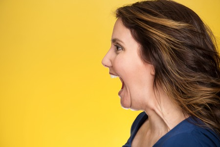 hysterical: Side view profile portrait beautiful angry woman screaming wide open mouth isolated on yellow background.  Stock Photo