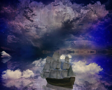 stargazing: Vintage retro classic old sailboat on a dreamland surrealistic star skyline sky moon light background boat refection in water.  Stock Photo
