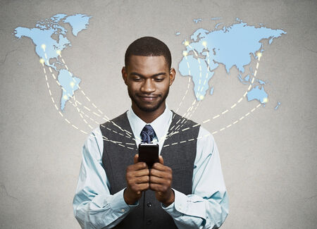 business networking: Modern communication technology mobile phone high tech, wide web connection concept. Business man holding smartphone connected browsing internet worldwide world map background. 4g data plan provider