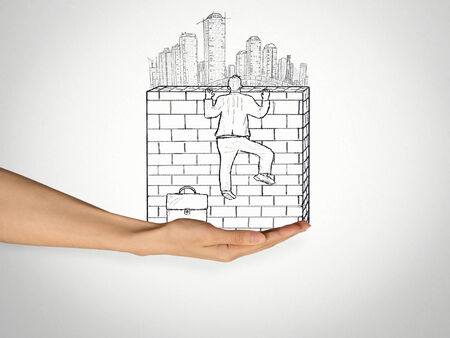 urbanization: Success Challenge Climb. Sketch of businessman climbing to the top of brick wall with a city skyline behind it. Urbanization competitive advantage career growth competition obstacle solution concept