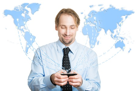 canadian icon: Modern communication technology mobile phone high tech, wide web connection concept. Business man holding smartphone connected browsing internet worldwide world map background. 4g data plan provider
