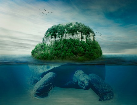 Collage giant world turtle carrying island the earth on back swimming under the ocean surface in blue water.