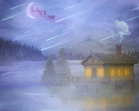 greeting season: Landscape image winter storm house on a lake in a forest with flying santa delivering gifts on christmas eve night on a moon, falling stars sky. Holiday celebration, new year, greeting season concept Stock Photo