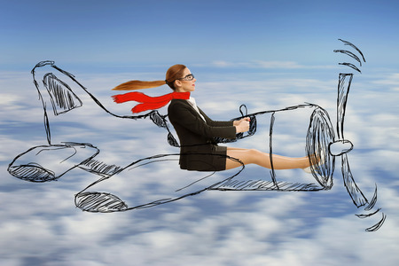 Attractive young aviator woman with scarf and glasses flying designed airplane at high altitude. Freedom travel speed expedition trip aviation transportation concept