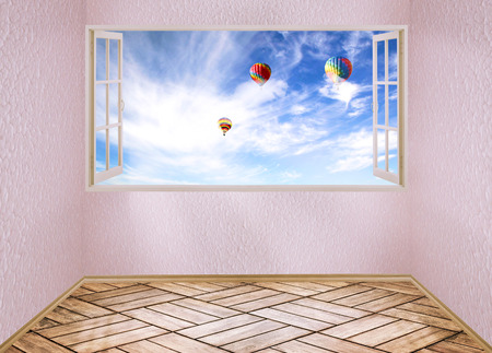 open mind: Room with open window and dreamland day light blue sky with air balloons, skyline view clouds outside outdoors. Happiness freedom escape life perception carefree success peace of mind wellness concept Stock Photo