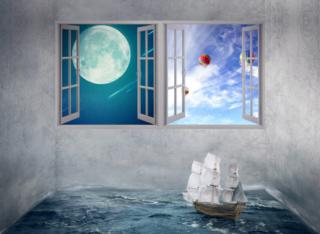 daily room: Abstract idea inside someones mind surrounded by limitation daily routine walls, no escape chance for future only dreams. Boat drifts in room with ocean water no course, windows with moon daylight sky