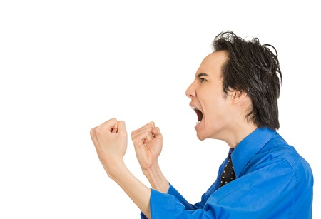 pissed off: Side profile portrait bitter mad displeased pissed off angry grumpy corporate man open mouth hands fist in air screaming isolated white background. Negative human emotion face expression feeling