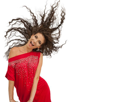 attitude girls: Studio shot young happy laughing playful woman posing in red dress isolated on white  background with copy space. Positive emotion, face expression