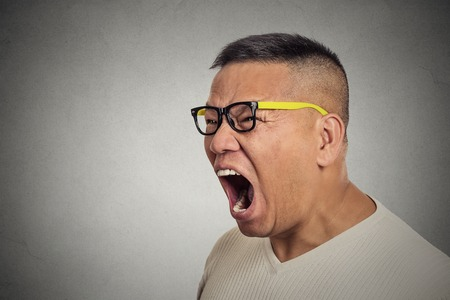 pissed off: Side profile portrait bitter mad displeased pissed off angry grumpy middle aged man with glasses open mouth screaming yelling isolated grey background. Negative human emotion facial expression feeling
