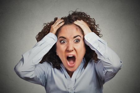 nerveux: Portrait Gros plan soulign�, frustr�s femme d'affaires choqu� tirant les cheveux crier crier crise de col�re isol�e gris mur arri�re-plan. �motion humaine expression faciale attitude n�gative de r�action