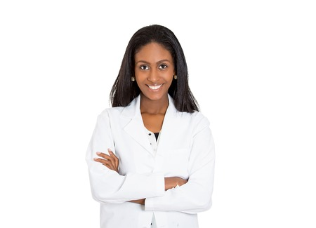Closeup headshot portrait of friendly, smiling confident female healthcare professional with lab coat isolated on white background. Patient office visit, health care plan management concept