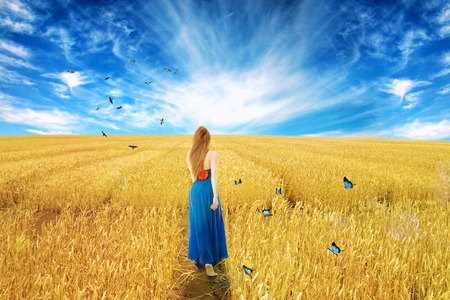 bliss: Young barefoot woman in dress standing walking through open wheat field with butterflies deep blue sky background. Dreamland nature landscape screen saver. Liberty peace of mind wellness concept
