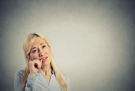 headshot lazy young woman. Human emotion attitude, perception photo