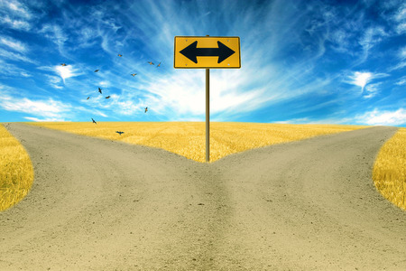 fork in the road: two roads, road sign ahead with arrows blue sky background. Countryside landscape