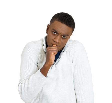 headshot lazy clueless young man on white background. Human emotion attitude, perception photo