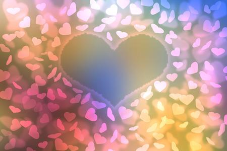 universal love: Resumen de colores de fondo desenfocado, borrosa efecto bokeh luces en forma de coraz�n textura, fondo. Fondo de pantalla universal al D�a de San Valent�n con amarillo, rosa, corazones azules. El amor, la pasi�n, los sentimientos concepto.