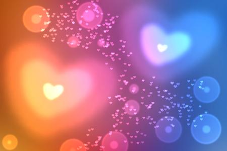 universal love: Resumen de colores de fondo desenfocado, borrosa efecto bokeh luces en forma de coraz�n textura, fondo. Fondo de pantalla universal al D�a de San Valent�n con azul, rosa, corazones amarillos. El amor, la pasi�n, los sentimientos concepto. Foto de archivo