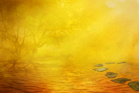 to metamorphose: Magic sunset fall background. Foggy misty lake surreal ideal relaxing place. Dreamy nature landscape, vintage screen saver artistic illustration. Peace of mind concept