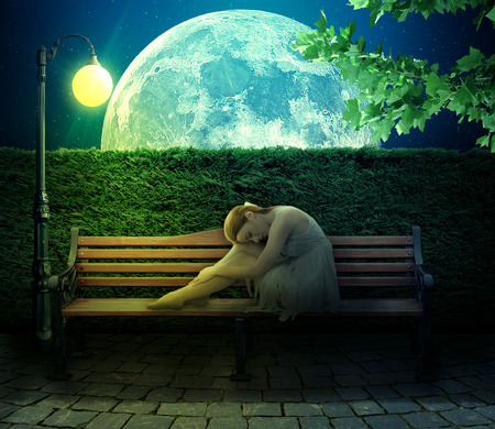 escape: Single girl sitting on bench with isolated on moonlight big moon background.