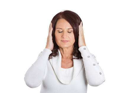 dont: Closeup portrait peaceful woman covering ears. Face expression