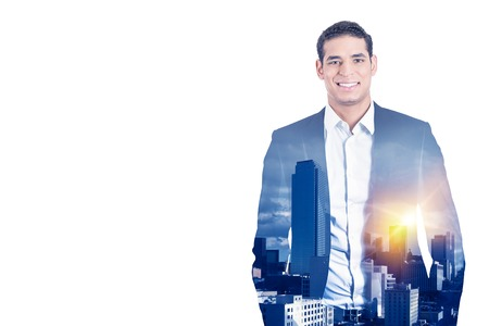 sky line: Double exposure of happy confident handsome business man in suit and high city sky line isolated on white background. Corporate employee life style concept