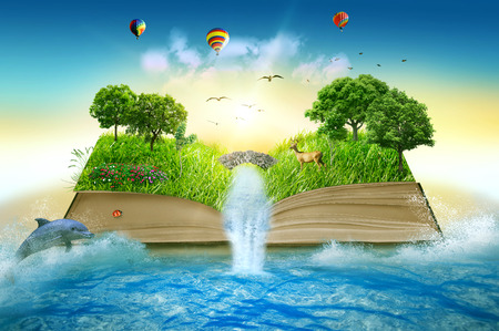 Illustration of magic opened book covered with grass trees and waterfall surround by ocean. Fantasy world, imaginary view. Book, tree of life concept. Original beautiful screen saver