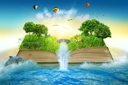 Illustration des magischen geöffneten Buches bedeckt mit Grasbäumen und Wasserfall, umgeben vom Ozean. Fantasiewelt, imaginäre Sicht. Buch, Baum des Lebenskonzepts. Ursprünglicher schöner Bildschirmschoner