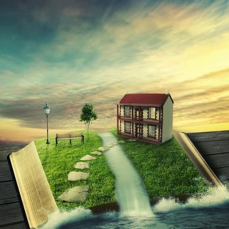 Illustratie van magische geopend met familie thuis boek, bedekt met gras, boom stoned manier op bosrijke grond. Fantasie wereld denkbeeldige uitzicht. Boom van het leven, juiste manier, onroerend goed concept. Originele screensaver Stockfoto