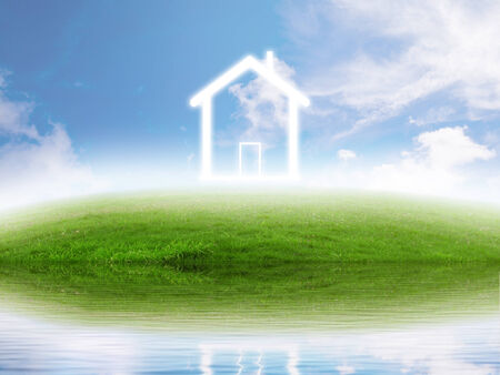 dream land: Real estate concept. Eco friendly house on green meadow by the lake