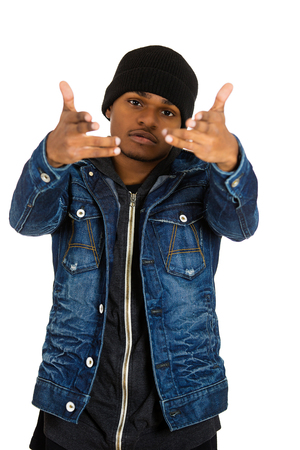 black teens: Closeup portrait handsome young man, posing fashion model, dressed in jeans, hoodie isolated on white background. Human face expressions, confidence body language, modern youth culture Stock Photo